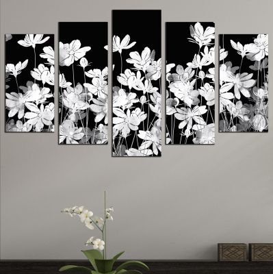 0711 Wall art decoration (set of 5 pieces) Jentle white flowers on black background