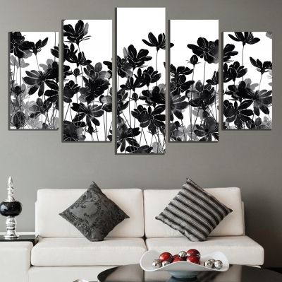0712 Wall art decoration (set of 5 pieces) Jentle flowers on white background
