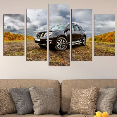 0713 Wall art decoration (set of 5 pieces) Landscape with car