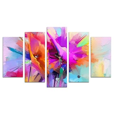 0667 Wall art decoration (set of 5 pieces) Abstract flowers