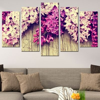 0714 Wall art decoration (set of 5 pieces) Lilac