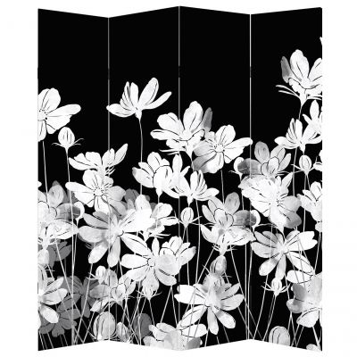 Decorative screen for room with abstract flowers black and white