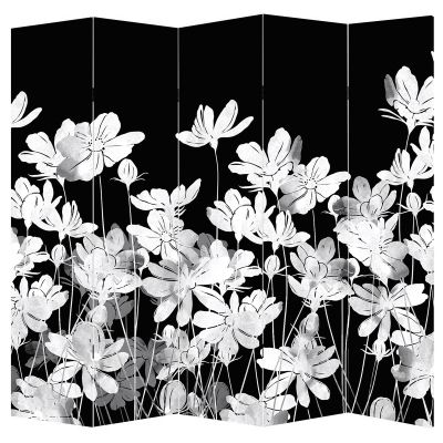 Room divider with abstract flowers in black and white
