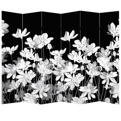 P0711 Decorative Screen Room divider Jentle white flowers on black background (3,4,5 or 6 panels)