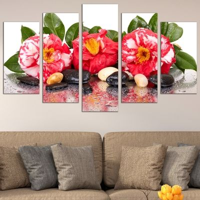 0717 Wall art decoration (set of 5 pieces) Zen composition with beautiful flowers and stones