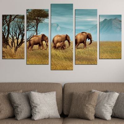 0718 Wall art decoration (set of 5 pieces) Elephant family