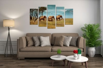 canvas wall art set Landscape with Elephant family