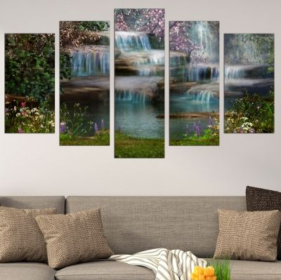 0719 Wall art decoration (set of 5 pieces) Fairy waterfalls