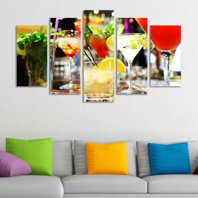 0109 Wall art decoration (set of 5 pieces) Cocktails