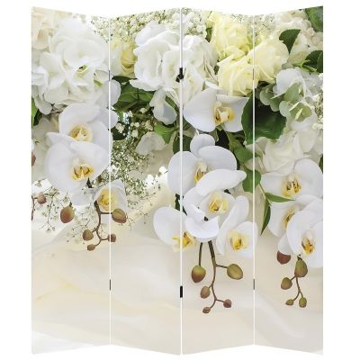 P0663 Decorative Screen Room divider White orchids (3,4,5 or 6 panels)