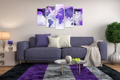Wall art panels decoration 5 pices ancient map in purple