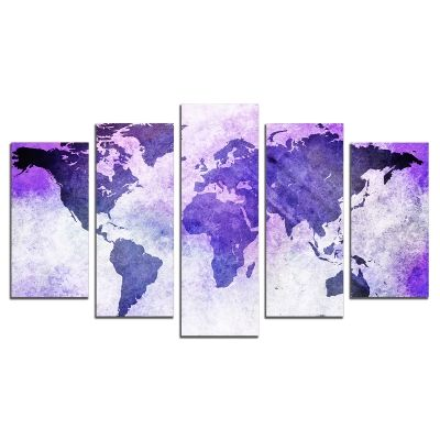 0721 Wall art decoration (set of 5 pieces) Old map purple