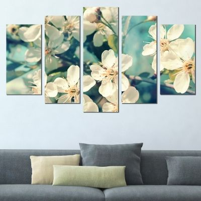 0722 Wall art decoration (set of 5 pieces) Blooming branches on blue background