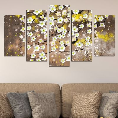 0723 Wall art decoration (set of 5 pieces) White spring flowers