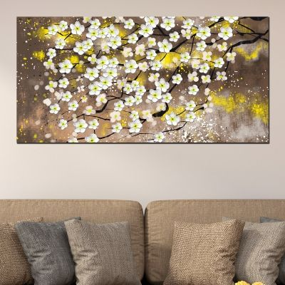 0723_1 Wall art decoration White spring flowers