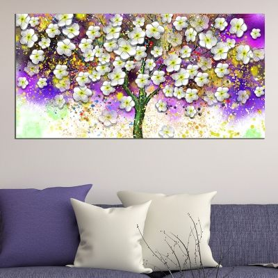 0724_1 Wall art decoration White spring flowers