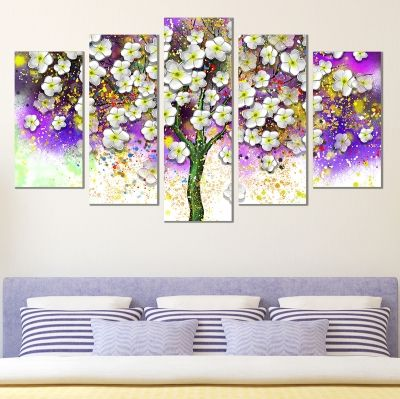 0724 Wall art decoration (set of 5 pieces) White spring flowers