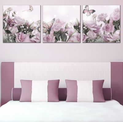 0725 Wall art decoration (set of 3 pieces) Delicate purple roses