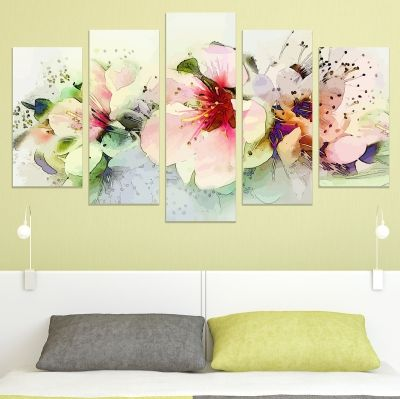 0726 Wall art decoration (set of 5 pieces) Art flowers in pastel colors