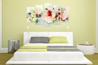 Canvas wall art set for bedroom in pastel colors with art flowers