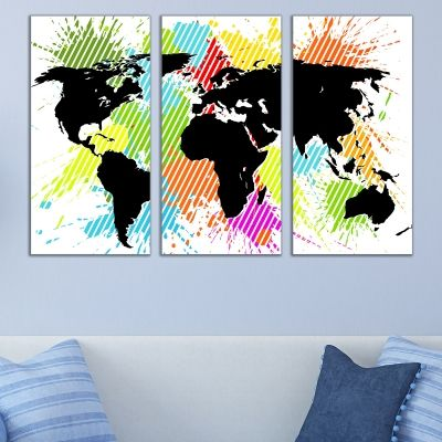 0729 Wall art decoration (set of 3 pieces) Abstract color map of the world