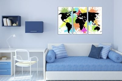 Canvas wall art set of 3 pieces world map for kid room
