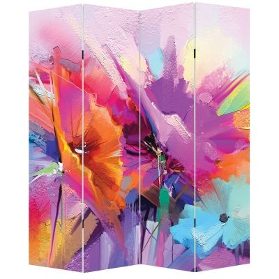P0667 Decorative Screen Room divider Abstract flowers (3,4,5 or 6 panels)