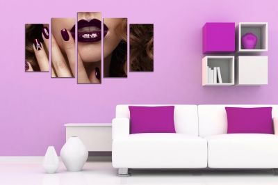 beauty salon canvas art with girl with perfect makeup