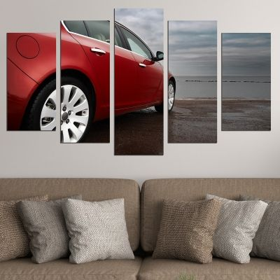 0731 Wall art decoration (set of 5 pieces) Landscape with red car