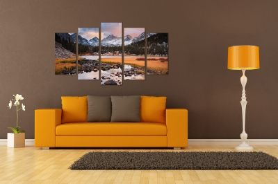 canvas print decoration in with mountain landscape with lake