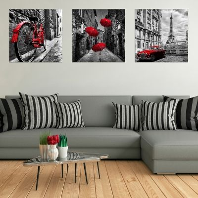 0733 Wall art decoration (set of 3 pieces)  Paris - cityscape
