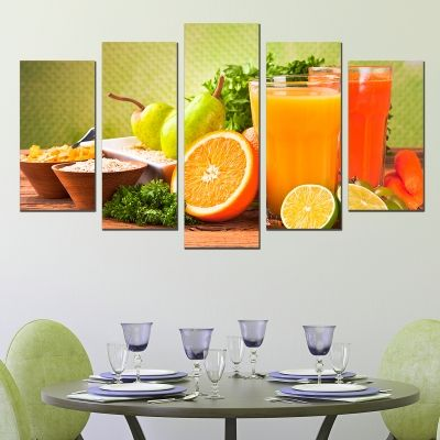 0735 Wall art decoration (set of 5 pieces) Juce fresh fruits