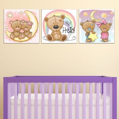 0736 Wall art decoration (set of 3 pieces) Sweet Bears