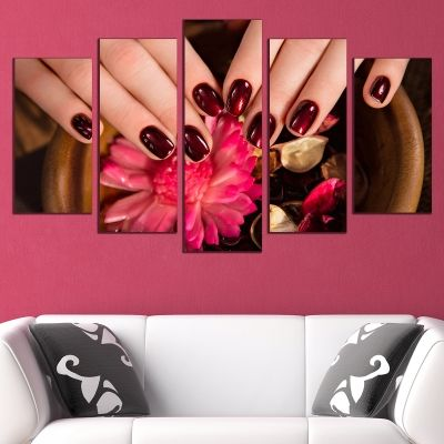 0737 Wall art decoration (set of 5 pieces) Spa manicure