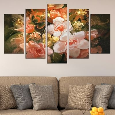 0738 Wall art decoration (set of 5 pieces) Art flowers
