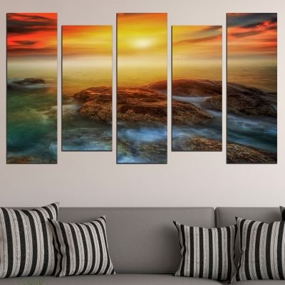 0739 Wall art decoration (set of 5 pieces) Beautiful sea