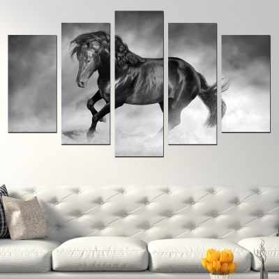 0741 Wall art decoration (set of 5 pieces) Beautiful black horse