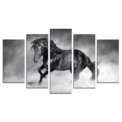 Black horse canvas art wall decoration set 5 pieces