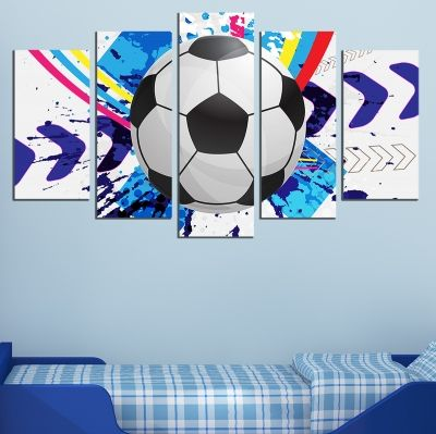 0742 Wall art decoration (set of 5 pieces) Football
