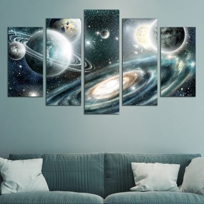 0744 Wall art decoration (set of 5 pieces) Space