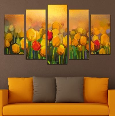 0745 Wall art decoration (set of 5 pieces) Yellow art tulips