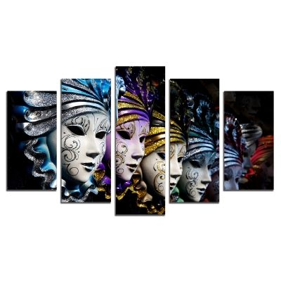 0528 Wall art decoration (set of 5 pieces) Venetian masks