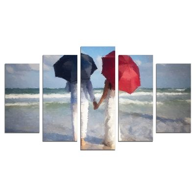 0622 Wall art decoration (set of 5 pieces) Couple in love on the beach