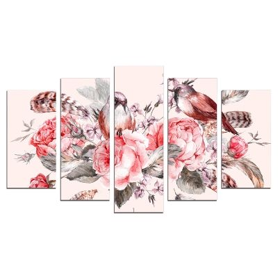 0624 Wall art decoration (set of 5 pieces) Vintage composition