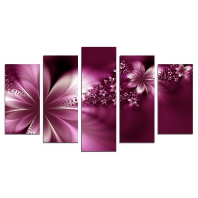 0627 Wall art decoration (set of 5 pieces) Abstract flowers in purple