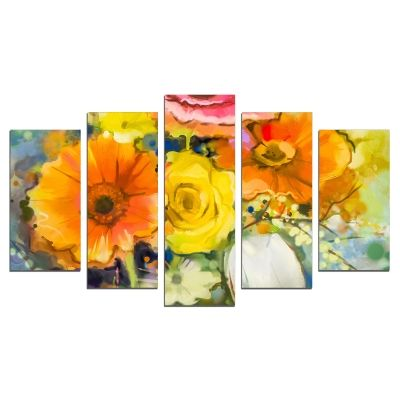 0665 Wall art decoration (set of 5 pieces) Art flowers yellow and orange