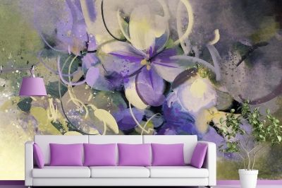 T0669 Wallpaper Art flowers in purple and white