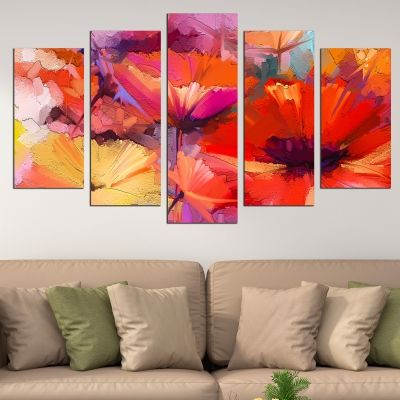 0748 Wall art decoration (set of 5 pieces) Abstract flowers