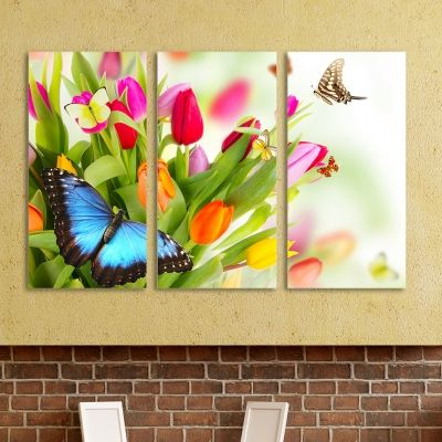 0064 Wall art decoration (set of 3 pieces)Tulips and butterflies