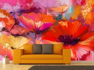 T0748 Wallpaper Abstract flowers